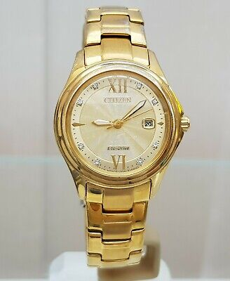 Citizen Ladies Eco-Drive Watch Date Gold Plated Bracelet Dress Watch Working (33 • 49.99£