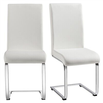 2pcs Chrome Dining Chairs Faux Leather Padded Seat W/Metal Leg Kitchen/Home/Cafe • 76.99£