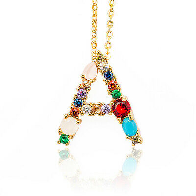 £3.80 • Buy Gold Color Initial Multicolor CZ Necklace Personalized Letter Necklace UK