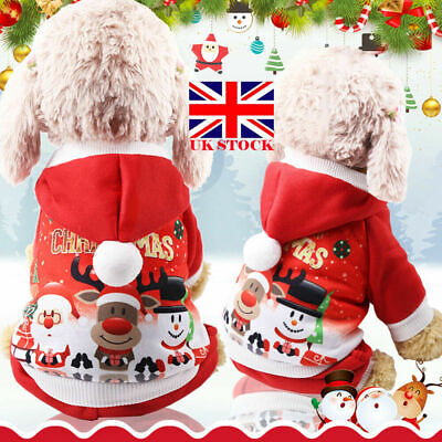 Pet Cat Santa Costume Dog Christmas Small Coat Outfit Clothes Hoodie Jumper Xmas • 5.49£