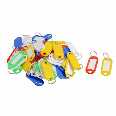 50 Pcs Plastic Holder Key ID Tags Name Card Labels Keyring Keychain • 4.59£