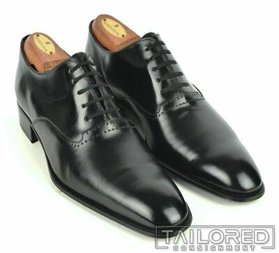 $ CDN630.18 • Buy NEW - ARTIOLI $1400 Solid Black Leather Oxford Mens Dress Shoes - UK 8 / US 9