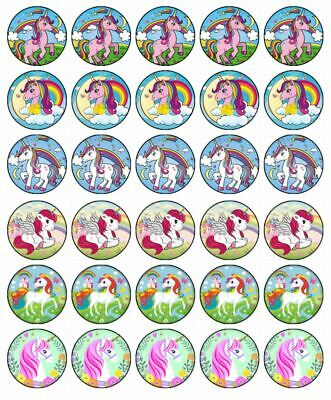 AU9.95 • Buy Unicorn Horses 30 Cupcake Toppers Edible Wafer Paper Birthday Cake Decorations