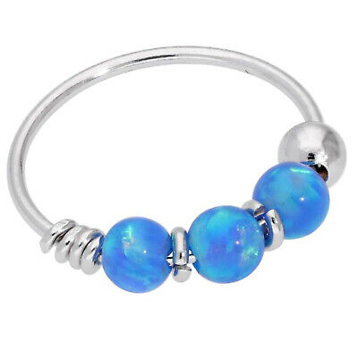 AU29.86 • Buy 9ct Carat Genuine White Gold Blue Colour Opal Beads Nose Hoop Ring 8mm