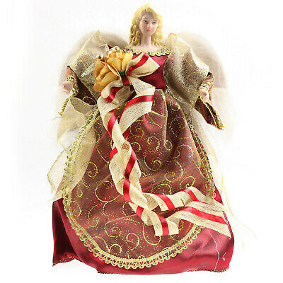 30cm Traditional Red Angel Fairy Xmas Christmas Tree Topper Ornament Decoration • 11.95£