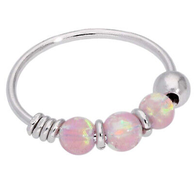AU29.86 • Buy 9ct Carat Genuine White Gold Pink Colour Opal Beads Nose Hoop Ring 8mm