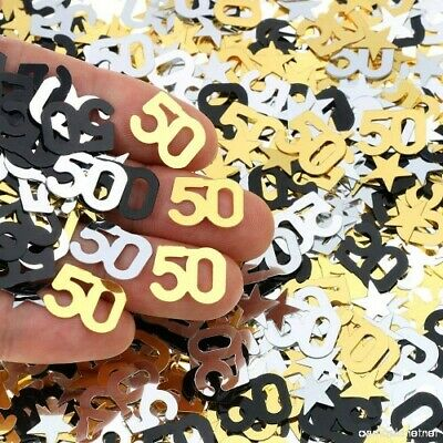 Black Gold & Silver 50th Birthday Party Table Confetti Decorations Age Sprinkles • 2.39£