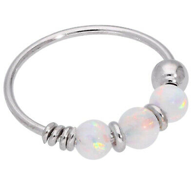 AU29.86 • Buy 9ct Carat Genuine White Gold Rainbow Colour Opal Beads Nose Hoop Ring 8mm