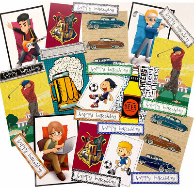 20+ Piece MALE Topper+Sentiment Set BIRTHDAY THEMED - For Card Making/Crafts • 2.09£