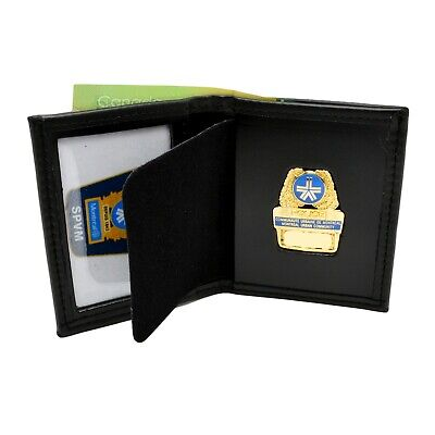 £20.27 • Buy Perfect Fit Montreal Police Badge Wallet Bifold ID Money Slot Black Leather SPVM