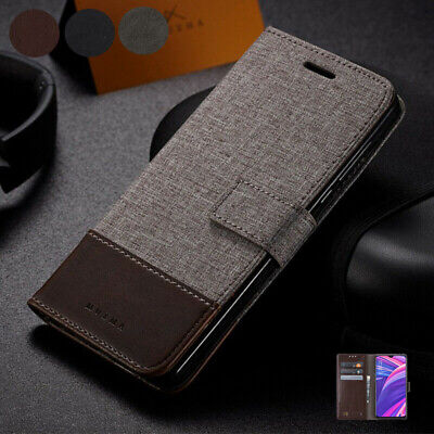 AU17.99 • Buy For Oppo FIND X2Pro R17Pro A37 A59 A83 R9S Plus Canvas Leather Wallet Case Cover
