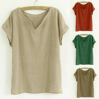AU20.83 • Buy Women Summer Solid V-Neck T-Shirt Short Sleeve Loose Top Blouse Tee Clothes