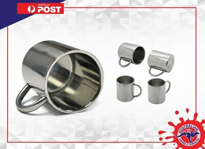 AU29.99 • Buy Stainless Steel Cup Mugs Drinking Coffee Camping Travel Kitchen 4 MUGS PICNIC