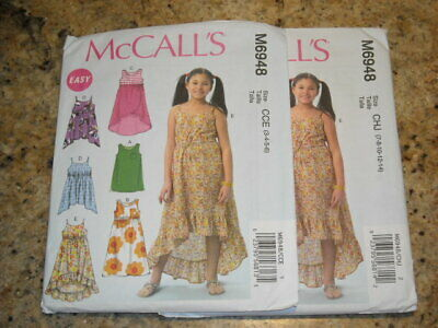 👼🏻 McCALL'S #M6948 - GIRLS CUTE SUMMER HIGH LOW DRESS & TOP PATTERN 3-14 FF • 6.05£