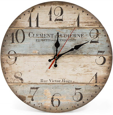 LOHAS Home 30cm Silent Wooden Round Wall Clock, 12  Vintage Rustic Shabby Chic • 13.77£