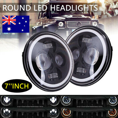 AU60.99 • Buy 2pcs 7  Inch Round LED Headlights Projector Hi-Lo Turn Light Fit For GQ PATROL