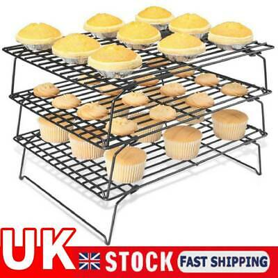 3 Tier Baking Cooling Drying Rack Wire Cookie Cake Food Kitchen Stand Net Holder • 9.99£