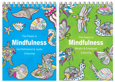 ADULT COLOURING BOOK SET Spiral Mindfulness Relaxing Anti-Stress 90 Patterns • 3.69£