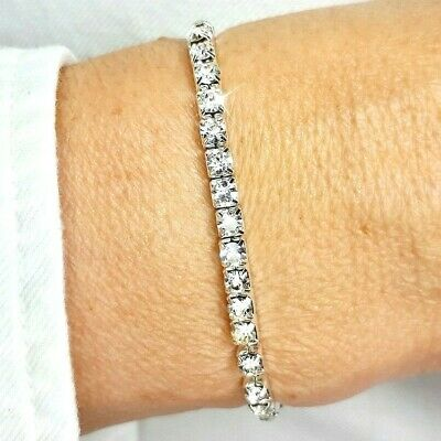 Silver CZ Diamante Crystal Adorned Tennis Bracelet Elastic Bangle Bridal Gift UK • 4.99£