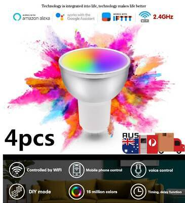 AU66.42 • Buy LED WiFi Smart Lamp GU10 Bulb RGBW Dimmable Alexa & Google Home Remote Control