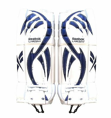 $349.99 • Buy New Reebok Larceny Intermediate Pro Ice Hockey Goalie Leg Pads 32+1 White Blue