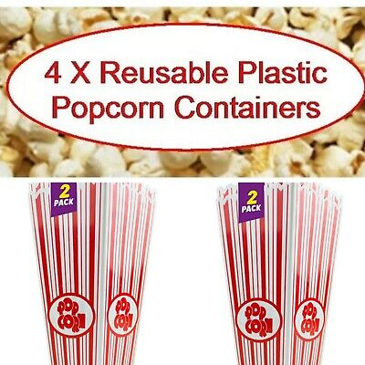4x Reusable Novelty Plastic Popcorn Boxes Tub Carton Container Movie Party Treat • 6.99£