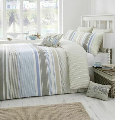 Dreams & Drapes Falmouth Coastal Stripe Duvet Set Green/Blue • 24.99£