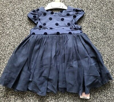 £9.99 • Buy NEW Mothercare Spotty Blue Party Dress Baby Girl 3 - 6 Month Wedding Christmas
