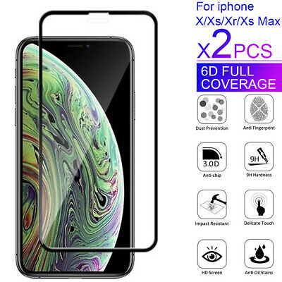 AU2.99 • Buy 2X For Apple IPhone XS Max XR X 6D Full Cover Screen Protector Tempered Glass