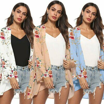 AU19.94 • Buy Plus Size Women Holiday Floral Kimono Cardigan Ladies Summer Tops Blouse