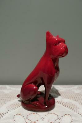 AU71 • Buy Vintage Zsolnay Boxer Dog Figurine - Red Eosin Glaze - Flambe - Collectable - Gc