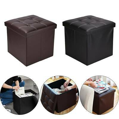Folding Storage Ottoman Seat Stool Footstool Toy Storage Box Bedroom Living Room • 13.59£