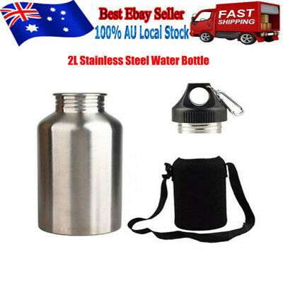 AU25.99 • Buy 2L Silver Stainless Steel Large Mouth Water Drink Bottle Kettle Cycling Sports !