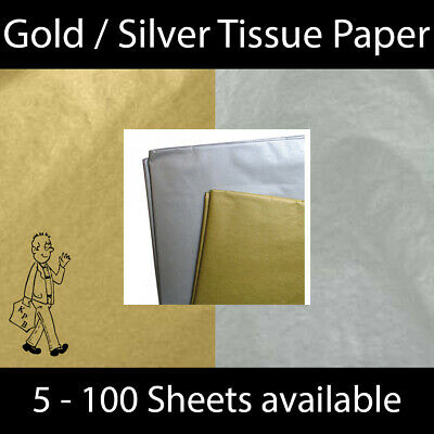 £2.49 • Buy Gold Silver Metallic Tissue Paper Craft Gift Christmas Wrapping