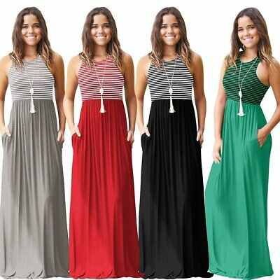 AU15.99 • Buy Women's Boho Plus Size Striped Strap Beach Dress Loose Sexy Maxi Dress AU Store
