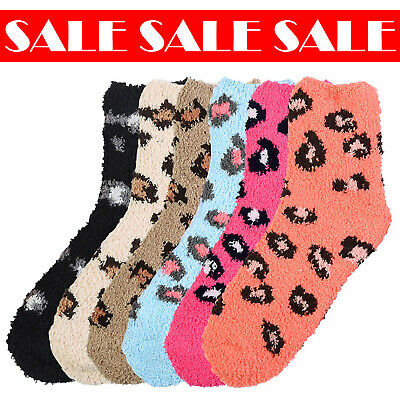 $12.99 • Buy 6 Pairs Women Leopard Winter Holiday Soft Cozy Plush Fluffy Warm Socks 9-11