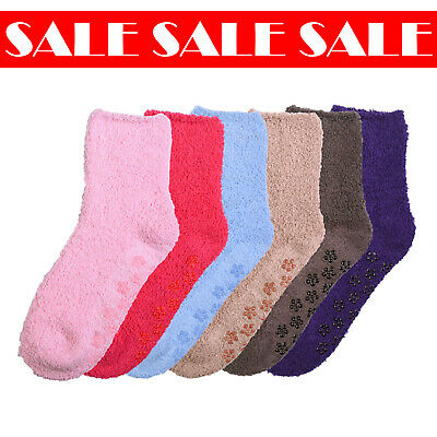 $12.99 • Buy 6 Pairs Women Solid Cozy Soft Plush Fluffy Seasonal Comfort Non-Skid Socks 9-11
