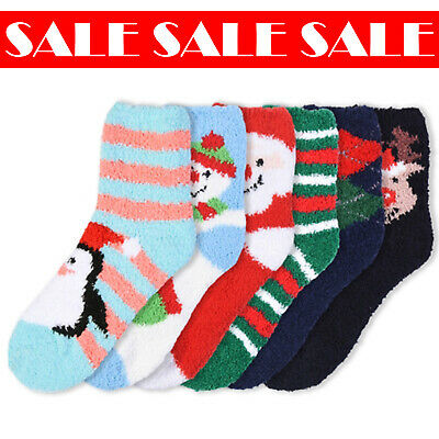 $12.99 • Buy 6 Pcs Women Christmas Holiday Plush Fluffy Soft Cozy Cute Warm Winter Socks 9-11