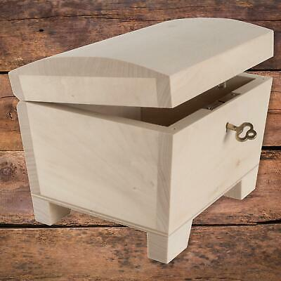 Wooden Storage Box With Key Lock Curved Lid | 15 X 11 X 9 Cm | Decorative Chest • 14.95£