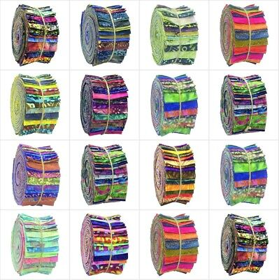 Batik Jelly Roll Fabric Strips 100% Cotton Quilting Patchwork Craft Sewing-20/40 • 13.45£