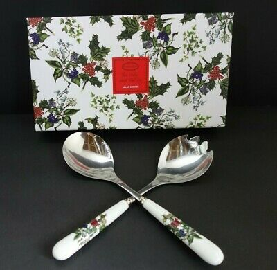 Portmeirion The Holly And The Ivy Stainless Christmas Salad Servers Holiday Set • 19.99$