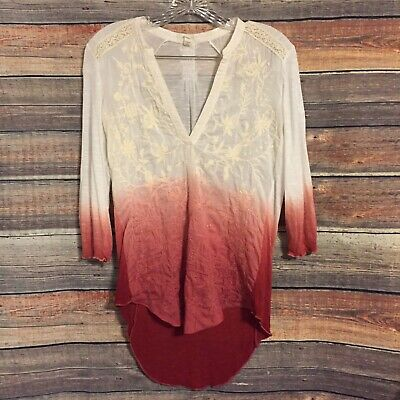 $ CDN33.14 • Buy Anthropologie Tiny Medium Embroidered Ombre Cream Red Blouse