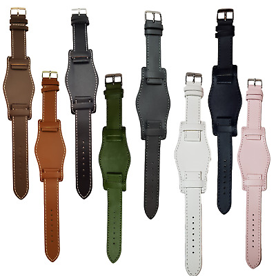 £6.80 • Buy Leather Watch Strap,Military Cuff Style, Black, Brown,Tan,18mm 0r 20mm