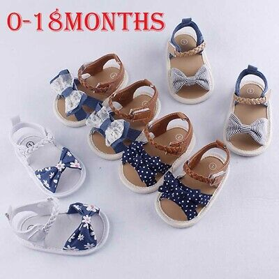 $4.97 • Buy Fashion Infant Baby Girl Soft Sole Sandals Toddler Summer Shoes Bow-Knot Sandal