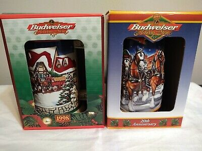 $ CDN39.53 • Buy Lot Of 2 Budweiser Holiday Beer Steins 1998-99 20th Anniversary Ceramarte