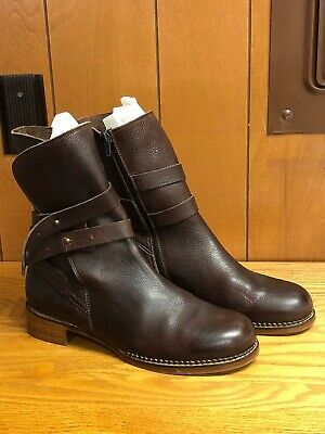 $50 • Buy Everybody Women's Brown Leather Zip Up Double Strap Short Boots 42 - Excellent