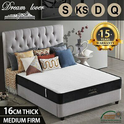 AU98.10 • Buy Queen Double King Single Mattress Bed Firm Foam Bonnell Spring Medium Firm 16cm