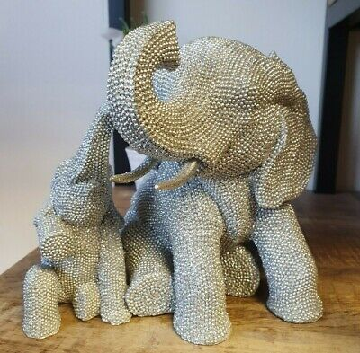 £23.85 • Buy Glitzy Silver Elephant And Baby Calf Ornament, Sparkly Diamante- Gift Boxed