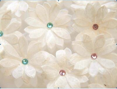 Paper Flowers -Double Daisy  Pack Of 30 Flowers. White Mulberry Tissue With Gems • 2.90£