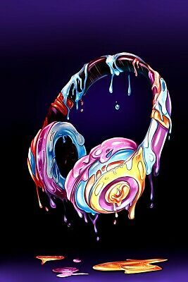 £16.99 • Buy Headphones Music - Colourful Paint Wall Art Decor Large Poster & Canvas Pictures